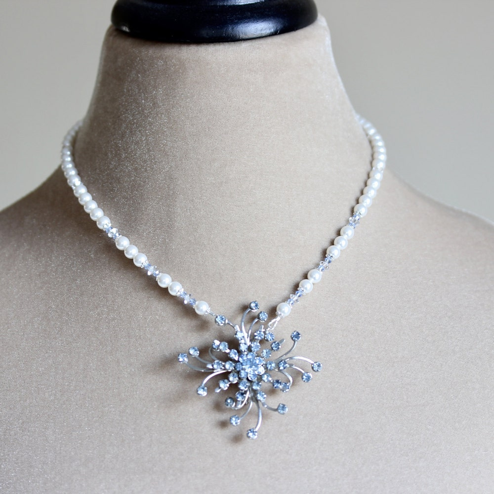 Crystal Brooch Pearl Bridal Necklace Blue Bridal Necklace image 0