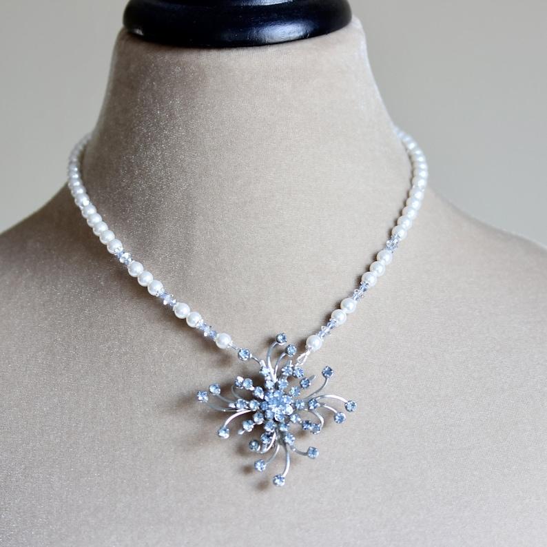 Crystal Brooch Pearl Bridal Necklace Blue Bridal Necklace image 0