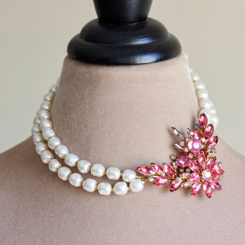 Crystal Brooch Pearl Necklace Pink White Pearl Necklace image 0