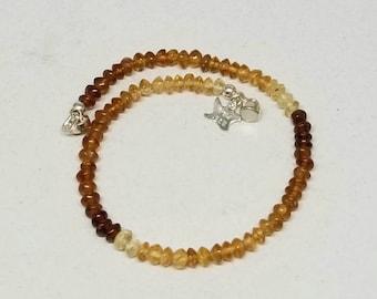 Amber Bracelet, Amber Gemstone Bracelet, Stacking Bracelet, Golden Amber Gemstone, Smaller Wrist Size, Magnetic Clasp, Sterling Silver