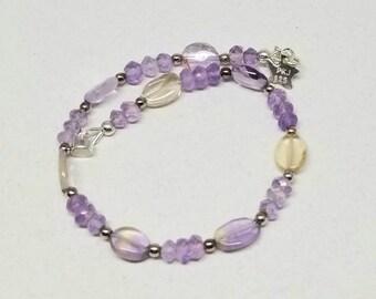 Amethyst Amitrine Gemstone Bracelet, Purple Lavender Gemstone Bracelet, Magnetic Clasp, Average Size Wrist, Sterling Silver Gemstone Jewelry