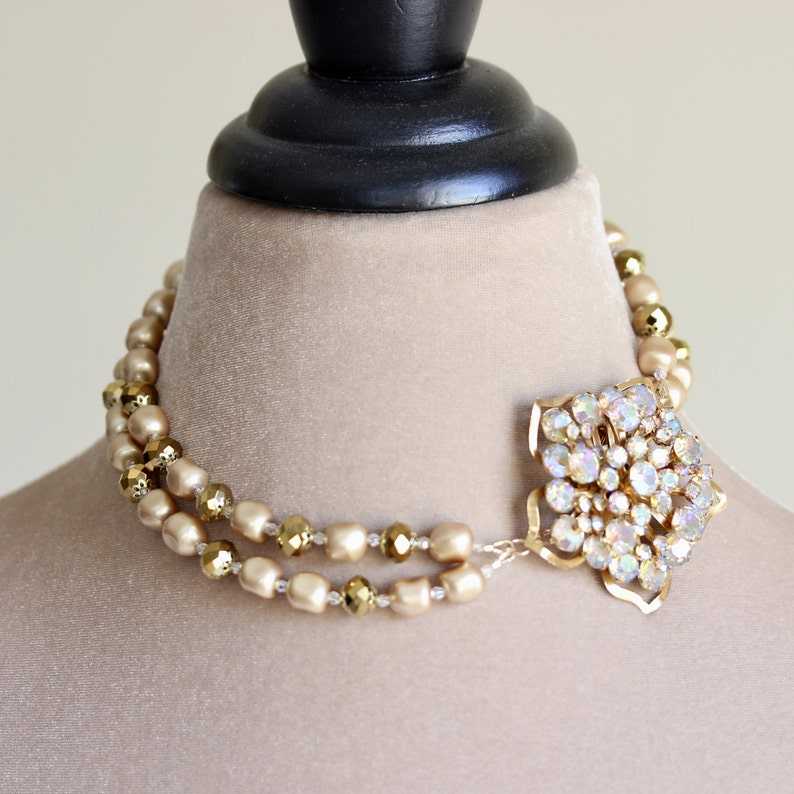 Crystal Brooch Pearl Necklace Champagne Gold Pearl Necklace image 0