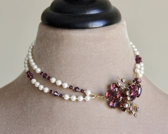 Crystal Brooch Pearl Necklace, Amethyst, Pearl Necklace, Double Strand Statement Necklace, Removable Brooch, Purple, Chantilly Collection