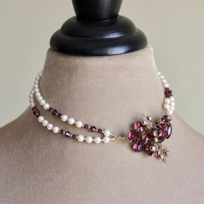 Crystal Brooch Pearl Necklace Amethyst Pearl Necklace image 0