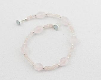 Rose Quartz Gemstone Bracelet, Pink, Gemstone Bracelet, Magnetic Clasp, 8 inch, Sterling Silver, Pearl and Gemstone Jewelry