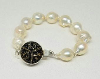 Large White Baroque Pearl Bracelet, Pearl Bracelet, Flame Ball Pearls, Small Average Wrist Size, Antique Button Box Clasp, Sterling Silver