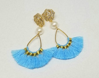 Blue Tassel Pearl Earrings, 18K Gold Fill and Silk Tassel Earrings, Aqua Silk Tassel Boho Earrings, Fan Shaped, Tassel Pearl Drop Earrings