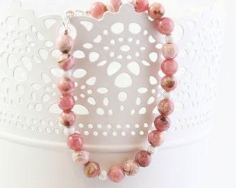 Simple Gemstone Bracelet, Pink, Gemstone Bracelet, Sterling Silver, Rhodochrosite, Average Wrist Size, Magnetic Clasp