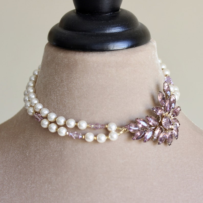 Vintage Style Brooch Necklace Lavender Brooch Necklace image 0