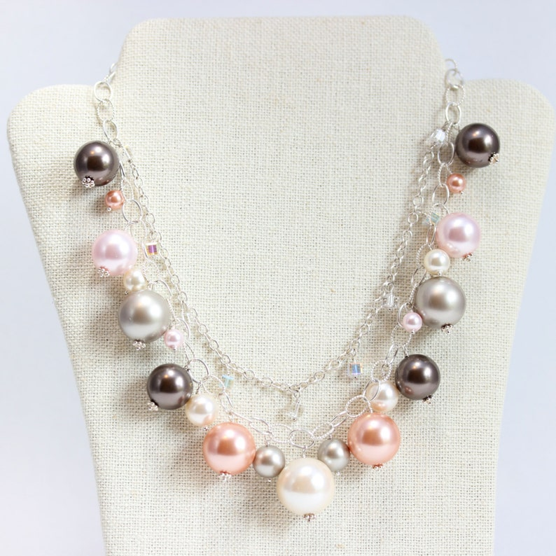 Sterling Silver Statement Necklace Multi Strand Grey Pearl and Gemstone Jewelry 14 Kt Gold Fill Pink Large Pearl Statement Necklace