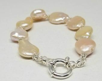 Baroque Pearl Bracelet, Cream Freshwater Pearl Bracelet, Large Pearls, Sterling Silver Clasp, Small Wrist Bracelet, Simple Pearl Bracelet