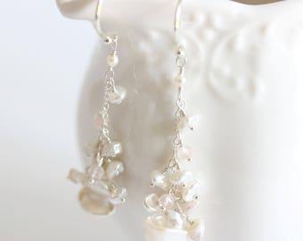 Gemstone Pearl Cascade Earrings, Pink, Pearl Cascade Earrings, Sterling Silver, Delicate Boho Earrings, Rose Quartz