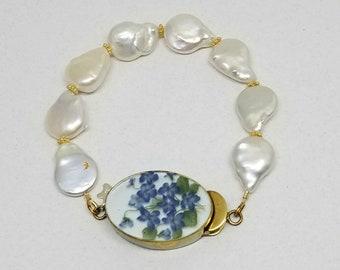 Statement Pearl Bracelet with Fancy Clasp Freshwater Pearl Bracelet Large Blue Violet Flower Box Clasp Gold Vermeil Accents Larger Wrist