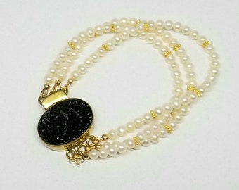 Multi Strand Pearl Bracelet with Fancy Clasp Freshwater Pearl Bracelet Large Black Flower Box Clasp Gold Vermeil Accents Average Size Wrist