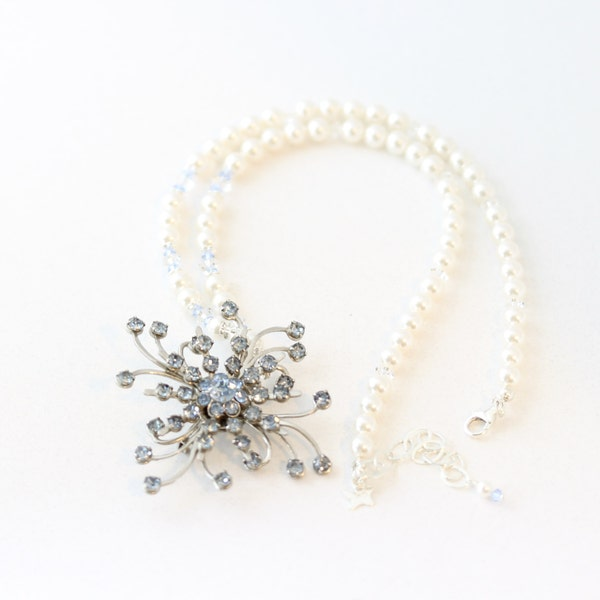 Crystal Brooch Pearl Bridal Necklace Blue Bridal Necklace image 1