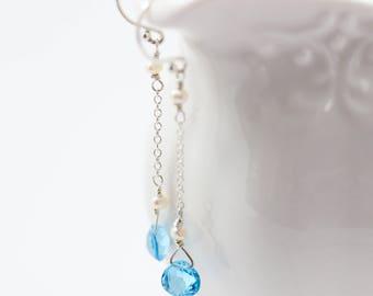 Topaz Long Drop Earring, Blue, Long Drop Earring, Genuine Topaz, Sterling Silver, Blue Ember Earring, Azure