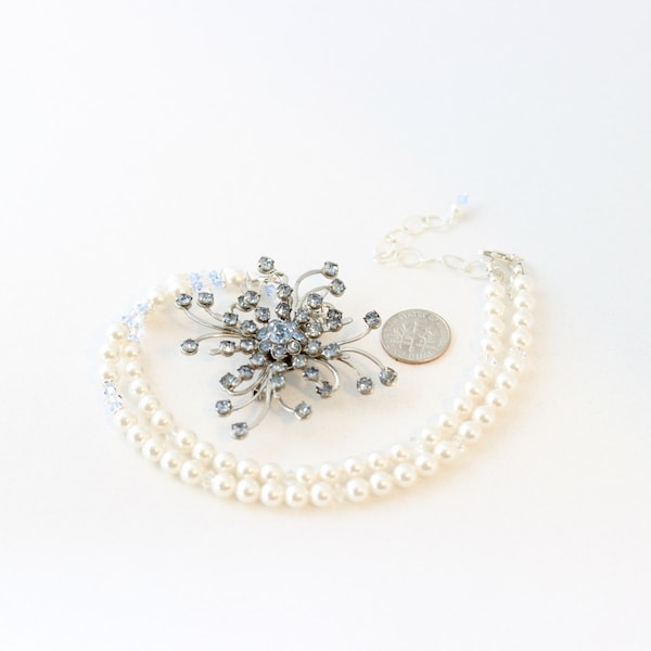 Crystal Brooch Pearl Bridal Necklace Blue Bridal Necklace image 3