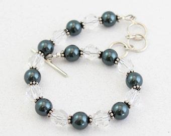 Simple Pearl and Crystal Bracelet, Black, Crystal Bracelet, Average Wrist,  Large Wrist, Adjustable Clasp, Sterling Silver