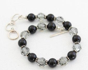 Pearl Crystal Bracelet, Black, Crystal Bracelet, Pearl Bracelet, Small Wrist, Average Wrist, Large Wrist, Adjustable Clasp