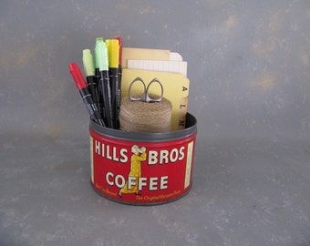 Vintage Coffee Can, Hills Bros, 1 lb, 1 pound, red