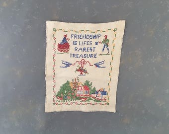 Vintage Cross Stitch Embroidery Home Quote, cottage, home