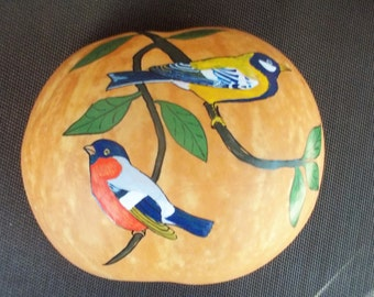 Vintage Hanging Wall Gourd with Hand Painted Birds