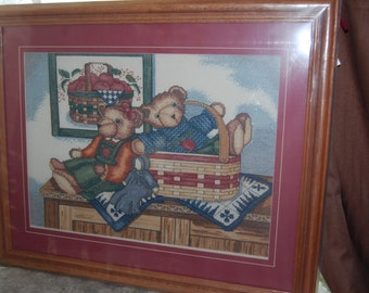 OLD TYME Teddy Bear - Completed Cross Stitch