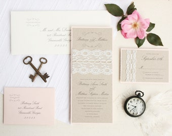 Lace Wedding Invitation Set - Kraft Wedding Invitation Set - Blush Wedding Invitation Suite Sample