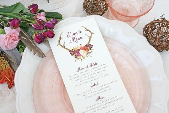 Wedding Menu Cards With Boho Antler Floral Design Rustic Wedding