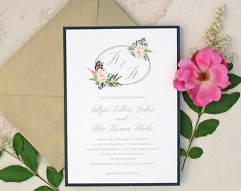 Navy and Gold Wedding Invitation Suite with Blush Watercolor Floral Design - Rustic Elegant Wedding Invitation Suite with Floral Wreath