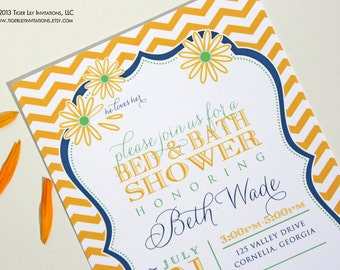 Bridal Shower Invitation in Yellow Chevron Stripe with Daisy He Loves Her Design
