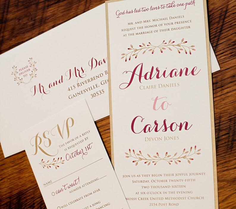 Rustic Elegant Wedding Invitation Set Sample Fall Wedding ...