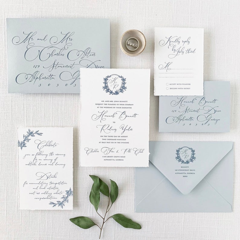 Dusty Blue Crest Wedding Invitations Printed On Cotton Cardstock With Handtorn Edges Sample Set