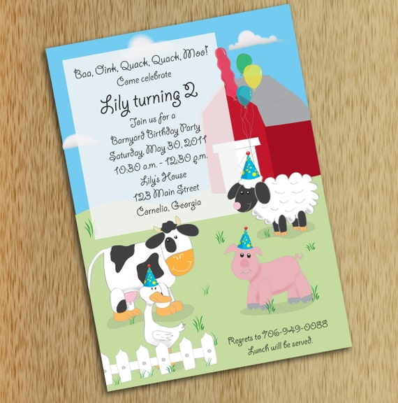 Farm Birthday Party Invitation Barnyard Birthday Invitations Etsy