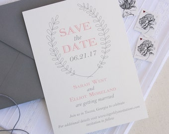Gray and Blush Save the Date Cards with Laurel Wreath Design