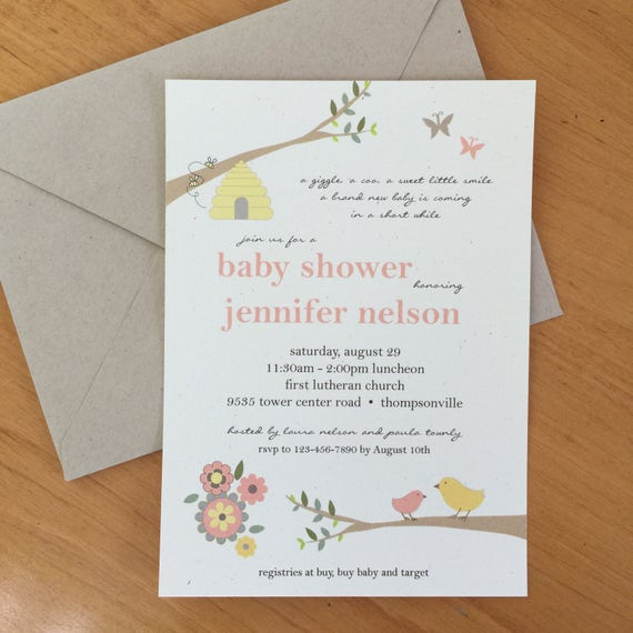 Gender Neutral Baby Shower Invitation In Bird Bees And Butterfly