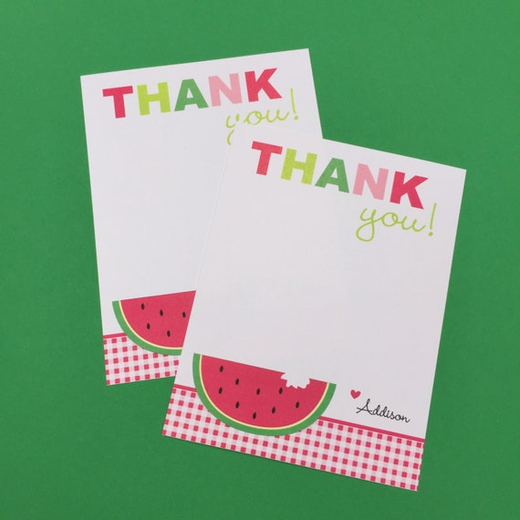 Watermelon Thank You Notes Watermelon Birthday Note Cards