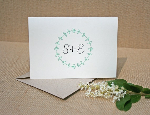 rustic laurel thank you cards monogrammed notes rustic wedding