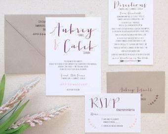 Rustic Laurel Wedding Invitation Set Sample - Rustic Wedding Invitation Suite - Mint Invitations - Laurel Wreath Design
