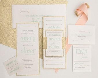 Glitter Wedding Invitation Set Sample - Gold Wedding Invitation - Mint and Gold Invitation