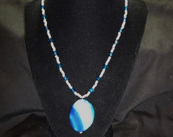 Turquoise and White Agate and Glass Beaded Necklace