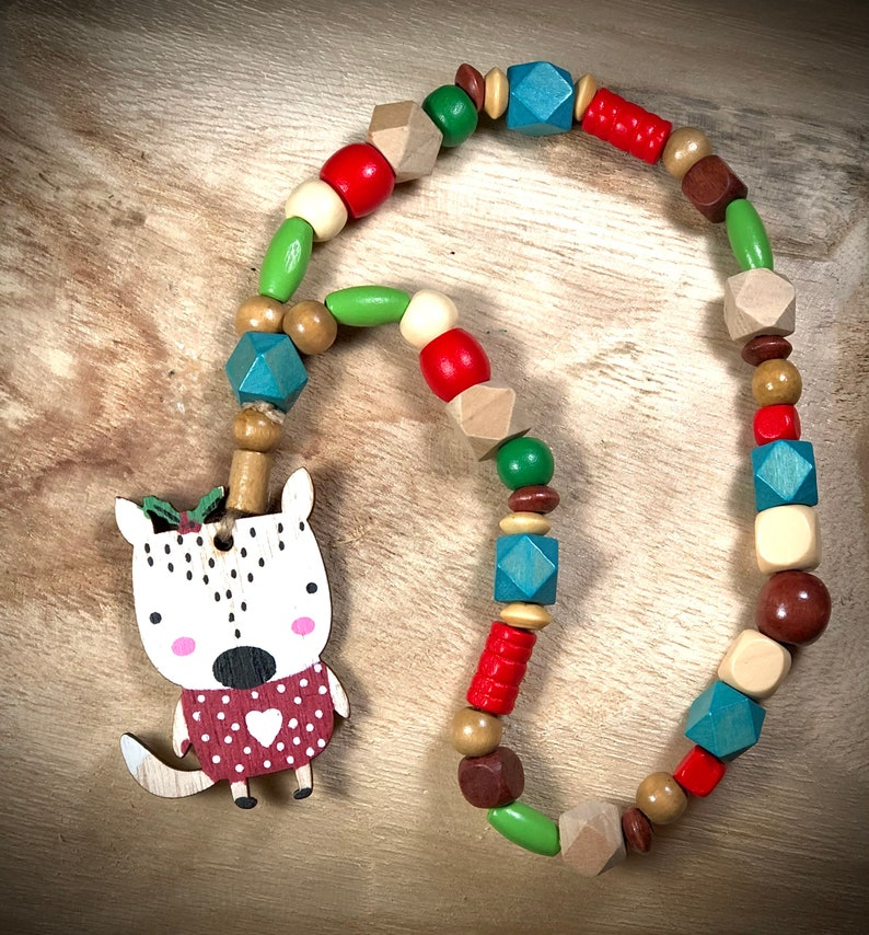 toddler girl Christmas necklace Stocking stuffer for kids holly jolly necklace stocking stuffers girls natural wooden jewelry for kids