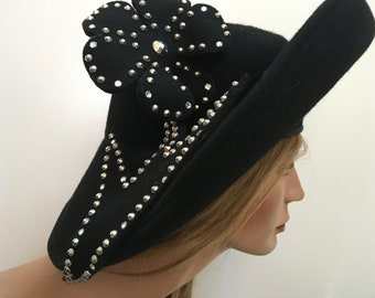 Oscar de la Renta Millinery Hat – Wide Brim Designer Black Felt Rhinestone  and Studded Hat – 1980s Accessory 697b8a34a39d
