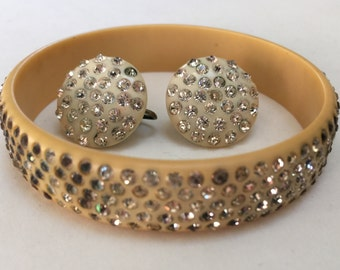 Art Deco Celluloid Rhinestone Bangle Earrings – 1930s Jewelry