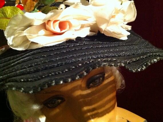 Beautiful Sheer Black Sun Hat – Pink Silk Roses –… - image 3