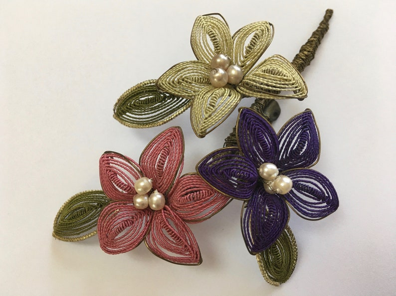 Floral Corsage Brooch \u2013 Delicate Hand Wired Pastel Colors \u2013 Wired Bouquet Pin \u2013 Hat Trim Flowers \u2013 1950s