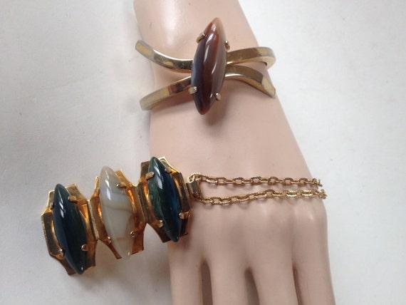 Retro Large Polished Agate Cabochon Clamper Bracel