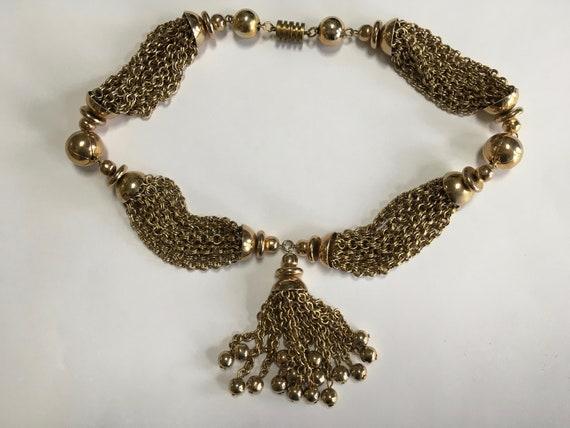 Multi Chain Tassel Necklace – Retro Gold Tone Shin