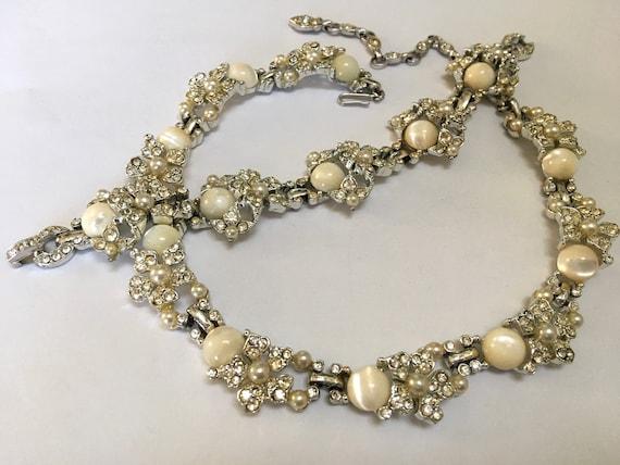 KRAMER Necklace Bracelet Set – Floral Rhinestone L