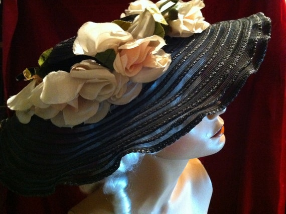 Beautiful Sheer Black Sun Hat – Pink Silk Roses –